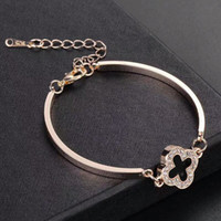 Wholesale rose gold snake charm resale online - Brand K Rose Gold Silver Plated Four Leaves Clover Charm Bracelets Bangle for Women Wedding Jewelry Fashion Accessory