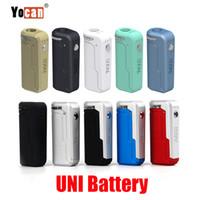 batarya mods toptan satış-Orijinal Yocan UNI Kutusu Mod 650 mAh Ön Isıtma VV Pil 510 Için 10 Renkler Kalın Yağ Vape Ön Isıtma Kartuşu Ecig Mods 100% Otantik