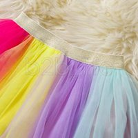 Wholesale baby clothing cartoon for sale - Baby girls unicorn outfits dress children top TuTu rainbow skirts set cartoon fashion Kids Clothing Sets WWA136