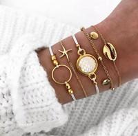 Wholesale gold chain price for women resale online - Double Fair Retro Bracelet For Women set Starfish Shells Anklet Bracelets Gold Color Fashion Jewelry KAH145 Amazing Price