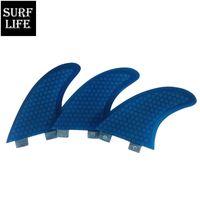 tri-barbatanas venda por atacado-Vender bem fibra de vidro FCS resina tamanho G5 médio Tri aletas definir fibra azul favo de mel prancha de surf base FCS