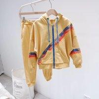 çocuklar için sarı takım elbisesi toptan satış-Çocuklar Erkek Kız Rahat set Sonbahar 2019 fermuar sarı Spor suit Çocuk pantolon ile Uzun Kollu giysi set Tops