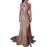 euro mode kleid großhandel-2019 Euroamerikanische Frauen Sexy Ein-Schulter Longuette Ärmelloses Vergoldetes Kleid Mit Langen Offenen Rock Fashion Lady Formelle Kleidung