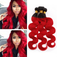 Wholesale Black and Red Ombre Virgin Indian Hair Weave Bundles Deals Body Wave Wavy Two Tone B Red Ombre Hair Double Wefts Extensions