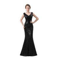 özel günler giysileri toptan satış-Siyah Payetli Dantel Balo Elbise V Boyun Illusion Geri Özel Durum Akşam Parti Kıyafeti Fabrika Custom Made