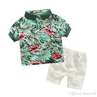 pantalones cortos verdes trajes de niño al por mayor-Camisa verde de la camisa del muchacho del muchacho del muchacho pantalones cortos blancos rasgados ropa traje conjunto de 2 piezas trajes del verano niños bebés ropa ocasional niño