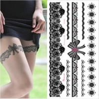 ingrosso tatuaggi di arco sexy-1 pezzo bianco nero tatuaggio all'henné calza sexy in pizzo arabo indiano rosa farfalla arco flash arte matrimonio vernice sulla mano braccio gamba SH190724