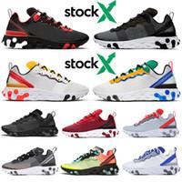 erkek koşu ayakkabıları toptan satış-Nike React Eleman 55 87 2020 stock x erkek kadın Koşu Ayakkabıları üçlü siyah beyaz Tur Sarı Yelken spor salonu Kırmızı erkek eğitmenler spor sneakers