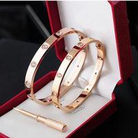 pulseras de acero inoxidable 316l al por mayor-Clásicos Diseñador de moda joyas Oro rosa 316L brazalete de acero inoxidable con destornillador y caja original que los hombres y las mujeres aman