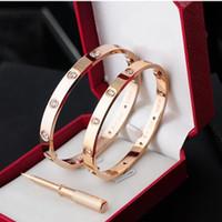 pulseiras de designer venda por atacado-Clássicos designer de moda jóias Rose ouro 316L aço inoxidável parafuso pulseira com chave de fenda e caixa original homens e mulheres amor