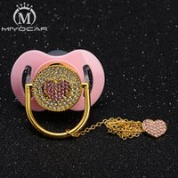 Wholesale baby holders resale online - MIYOCAR bling pink sweet heart pacifier dummy and pacifier clip holder set BPA free FDA grade special gift for baby shower