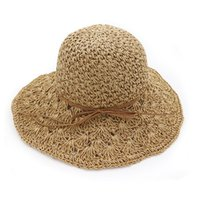 sombreros de paja hechos a mano al por mayor-Sombreros de verano para mujer Panamá Sombrero de paja de ganchillo hecho a mano Femme Sombrero plegable para el sol Sombrero ancho grande Visera Hueso Mujer Playa Cap de sol
