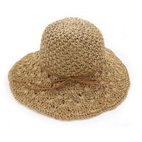 häkeln sommerhüte großhandel-Sommer Hüte Für Frauen Panama Handgemachte Häkeln Strohhut Femme Faltbare Sonnenhut Große Breiter Krempe Visier Knochen Weiblichen Strand Sun Cap
