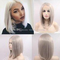 gri kısa saç perukları toptan satış-Ücretsiz Kargo Kısa Gümüş Gri Bob Dantel Ön Peruk Kadınlar için Isıya Dayanıklı Fiber Platin Sarışın Bob Sentetik Saç Peruk Orta Kısmı
