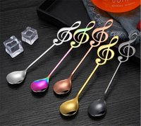 Wholesale bar guitar online - Hot Dining Bar Colorful Stainless Steel Flatware guitar Spoon Creative Milk Coffee Spoon Ice Cream Candy Teaspoon accessorie