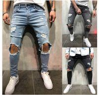 черные серые джинсы мужчины оптовых-KNEE HOLES Дизайнерские мужские джинсы Длинные брюки Синий Серый Черный Узкие рваные байкерские джинсы