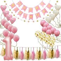 mutlu yıllar bayrak bayrağı toptan satış-Bebek Yıldönümü Balonlar Doğum Günü Afiş Mutlu Ilk Doğum Günü Partisi Dekorasyon Seti Doğum Günü Şapka Afiş Bayrak Topper Balonlar Kiti