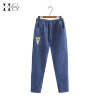 denim jeans cintura ajustável venda por atacado-Hee grand 2018 inverno bordado mulheres jeans plus size 5xl cintura ajustável mãe calças soltas denim pintado calças compridas wkn612