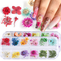 Wholesale nail design yellow resale online - Dried Flowers Nail Art Decorations Natural Dry Floral Leaf Stickers Multi Color D Nail Art Designs Sticker Polish Manicure Tool Set