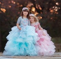 Wholesale layered sheer dresses for sale - Layered Ruffles Tulle Girl Pageant Dresses Formal Princess A Line Sheer Crew Neck Half Sleeve With Flora Long Kids Flower Girl Dress