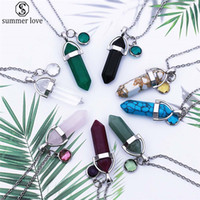 Wholesale silver bullet pendant necklace resale online - Natural Stone Bullet Glass Crystal Pendant Necklace Birthday Stone Pendant stainless steel Chain Necklaces For Women Birthday Gift Z