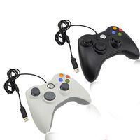 controlador de juego con cable al por mayor-Wired 360 Controlador de juegos con cable en blanco y negro Gamepad con cable USB para PC Juego Joystick para PC Alta calidad
