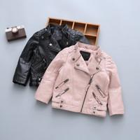 jaquetas de couro meninos 4t venda por atacado-Pu meninos crianças primavera inverno casacos com pele jaqueta de couro meninas jaquetas de inverno ao ar livre crianças forte)