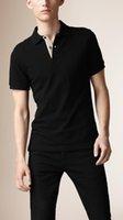 camisas pólo xadrez para homens venda por atacado-Homens de verão Londres Brit Camisa Polo Inglaterra Algodão Casual Polos Cavalo Bordado Colarinho Xadrez Camisas Sólidas de Manga Curta Preto Branco