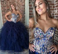 vestido de baile de formatura sem costura venda por atacado-Azul marinho Ruffles Top Quinceanera Nude Top Vestidos de Baile 2019 Beading Espartilho Strapless Vestido De Vestido De Volta Para O Doce 16 Meninas Pageant
