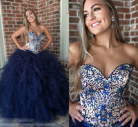 ingrosso vestito da promenade senza bretelle bordante del corsetto-Navy Blue Ruffles Nude Top Quinceanera Prom Dresses 2019 Beading Crystal Senza spalline Corsetto Indietro Vestido De Dress Per Sweet 16 Girls Pageant