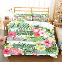 Wholesale pink bedspreads queen size resale online - Double Bedspread D Pink Flamingo Printed Home Textile with Pillowcases Bedding Linen Cover Queen Double Size