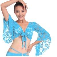 blauer bauchtanz bh großhandel-Sexy-Bauchtanz-Tanzen Spitzenbluse Top Bra Dancewear Kostüme See blau