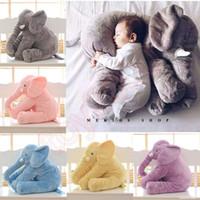 almohadas para recien nacidos al por mayor-60 cm 40 cm Juguete de peluche de elefante Bebé durmiendo Amortiguador Cojines blandos Almohada Muñeca de elefante Bebé recién nacido Muñeca para niños Juguetes squishy