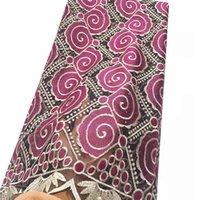 tecido de pedra de strass venda por atacado-Partido africano Dubai Lace Tecido Rhinestone Suíço África Tecido de Renda Rosa Teal Latest Tulle Lace Tecido 2018 Para O Vestido de Noiva
