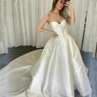 Wholesale strapless sweetheart ball gown wedding dress resale online - Custom Strapless Ball Gown Wedding Dresses Sweetherat Court Train Satin Lace Up Back Wedding Bridal Gowns