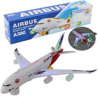 flugzeugmodelle geben verschiffen frei großhandel-Flugzeug Spielzeug für Kinder Weihnachten Lustige Flugzeug Modell Spielzeug LED Laufflugzeug 48CM A380 Flugzeug Kostenloser Versand