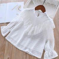 1d9c694c3 puente de gasa blanco al por mayor-Niña lunares camisas primavera bebé  volantes gasa blusa