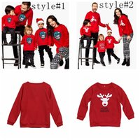 Wholesale woman children matching clothing online - Family Matching Hoodies Christmas Deer Print Parent child Outfit Long Sleeve Family Tops Kids Men Women Clothing Sweatshirts GGA1407