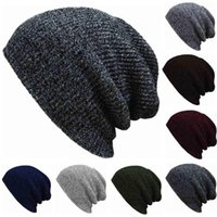 crochet beanie hats long venda por atacado-Homens Mulheres Slouch Crânio Oversize longo Beanie Sólidos Quente Cap Baggy Crochet Knit Ski Skullies Hat