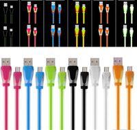 ingrosso cavo di caricamento leggero visibile-Visibile micro LED Light USB 1m dolce cavo Candy 3 piedi piatto tagliatella del caricatore di dati di sincronizzazione di ricarica cavi led per Samsung