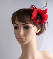 Wholesale good brooches resale online - elegant feather fascinator hair accessories Good as party hats wedding hats brooches multicolor available MYQ099