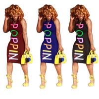 vêtements colorés achat en gros de-POPPIN Femmes Robes D'été Maigre Coloré Imprimé Robes Designer Sexy Club De La Mode Sans Manches Robes Vêtements Pour Femmes
