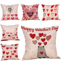 almohadas de san valentin al por mayor-Happy Valentine's Day Throw Pillow Case Sweet Love Cojín Cuadrado Cojines decorativos para Sofá Funda de almohada C30316