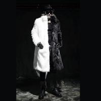 moda gösteri bandı toptan satış-2019 Moda Erkek ceket Dans Yeni Erkek Casual Kişilik Hip-hop, Suni Kürk Uzun Kürk paltolar Toz Coat Bar Disko gösterir