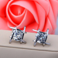 Wholesale copper clip earring for sale - Group buy Elegant refined zircon earring triangle square fashion Europe and America sweet alloy earrings for adult gift jewelry
