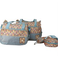 Wholesale polka dot backpack for baby for sale - Group buy 5pcs Multifunctional Reusable Polka Dot Nappy Changing Mummy Handbag Diaper Pad Feeding Bottle Holder Bag For Babies