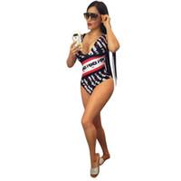 ingrosso pezzi di abbigliamento per le donne-Costume da bagno intero di un pezzo delle donne Costume da bagno di lusso del progettista Costume da bagno doppio F FF a righe Costumi da bagno Monokini Marca Abbigliamento da spiaggia Costumi da bagno C52906