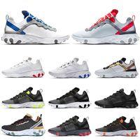 paquet de bande achat en gros de-Nike React Element 55 2019 chaussures de course à talons chauds pour homme, coutures soudées Bleu Rouge Or Navy Escape Pack Jeu Royal baskets formateurs pour hommes
