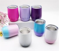 Wholesale glass travel mug for sale - Group buy 12oz Stainless steel wine glasses Double Wall wine tumblers Vacuum Insulated egg shape cups Cocktail Cups Outdoor travel Mugs with lids