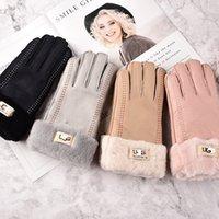 ingrosso donne genuino guanti di pecora-Maxi donne di inverno Top qualità genuina dei guanti di pelliccia addensare caldi antivento lana Guanti di pelle di pecora di marca Outdoor guida del motociclo